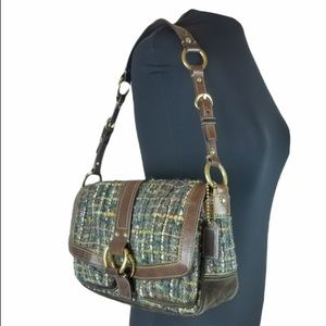 COACH Chelsea Tweed Boucle Wool/Leather Shlder Bag